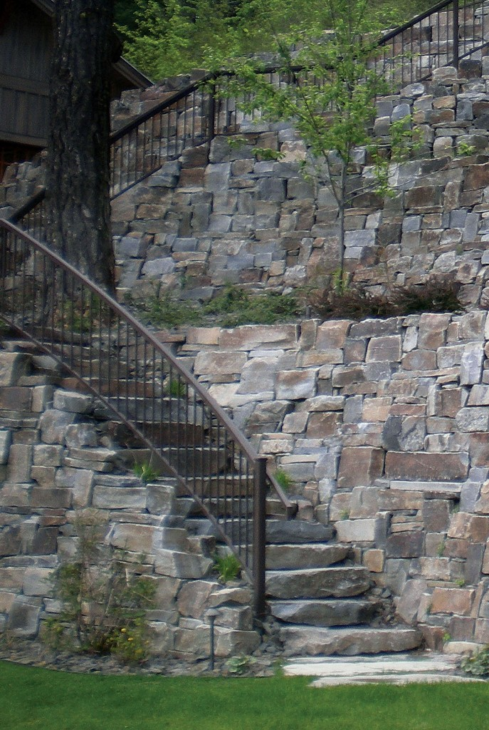 Castle Rock Drystack Mortared Wall and Steps